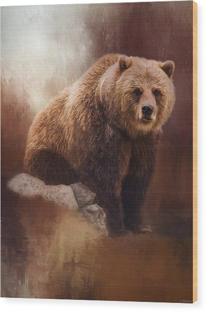 Great Strength - Grizzly Bear Art Wood Print