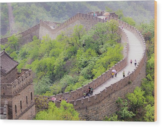 Great Wall At Badaling Wood Print