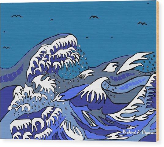 Great Wave 2011 Wood Print by Richard Heyman