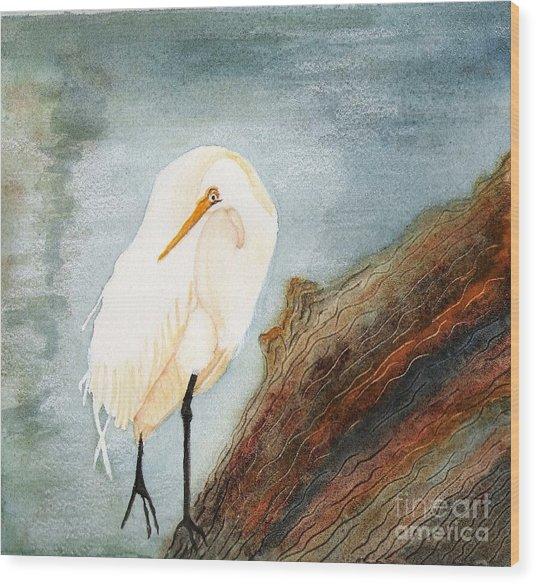 Great White Egret Wood Print by Georgia Johnson