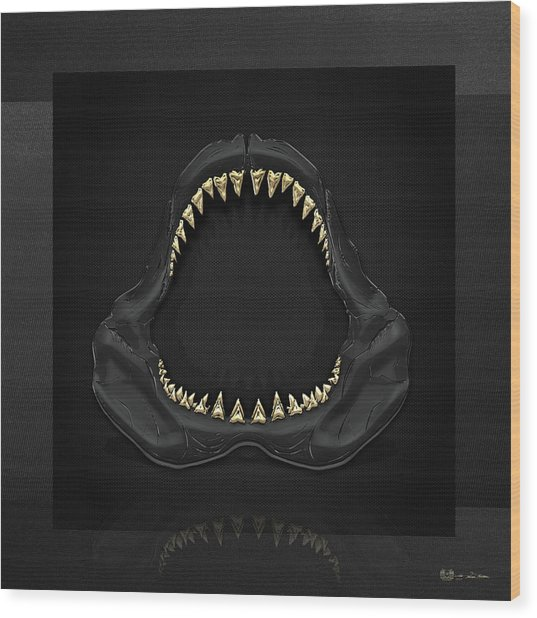 Great White Shark Jaws With Gold Teeth  Wood Print