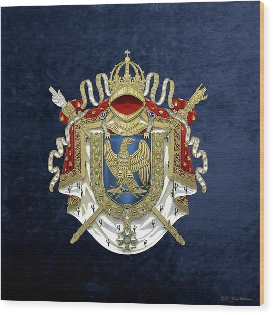 Greater Coat Of Arms Of The First French Empire Over Blue Velvet Wood Print