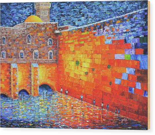 Wood Print featuring the painting Wailing Wall Greatness In The Evening Jerusalem Palette Knife Painting by Georgeta Blanaru