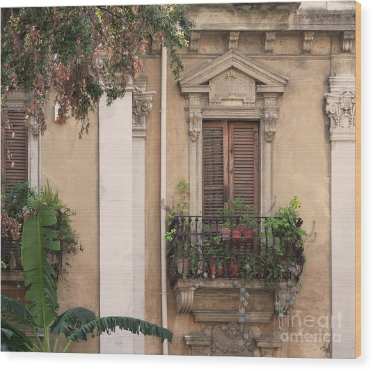 Grecian Courtyard Wood Print