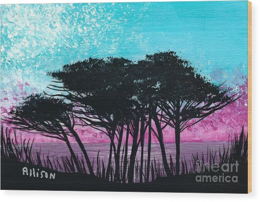 Grecian Sunset Wood Print