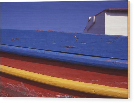 Greece. Colorful Fishing Boat Wood Print by Steve Outram