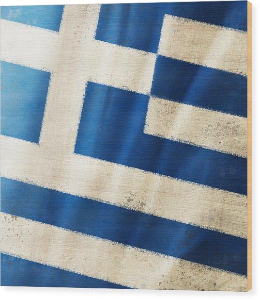 Greece Flag Wood Print