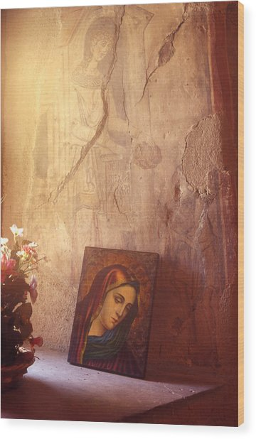 Greece. Lesvos. 16th Century Fresco And Virgin Mary Icon Wood Print by Steve Outram