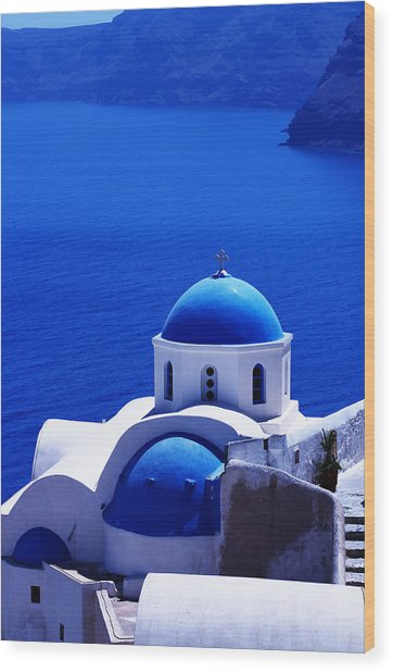 Greek Blue Vertical Wood Print by Paul Cowan