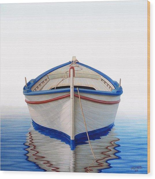 Greek Boat Wood Print