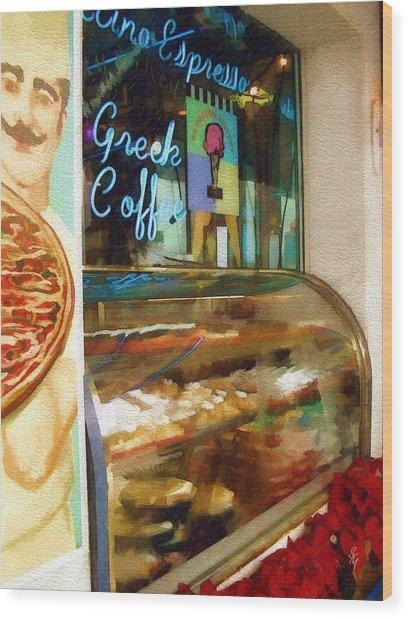 Greek Coffee Wood Print