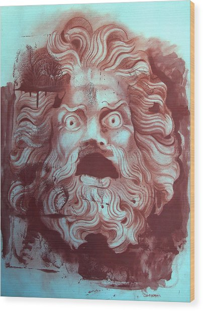 Greek Mask Wood Print by Tom Durham