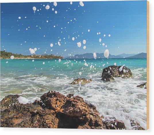 Greek Surf Spray Wood Print