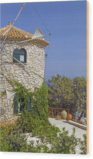 Greek Windmill Wood Print