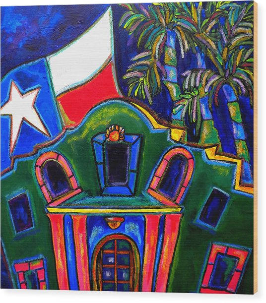Green Alamo Wood Print