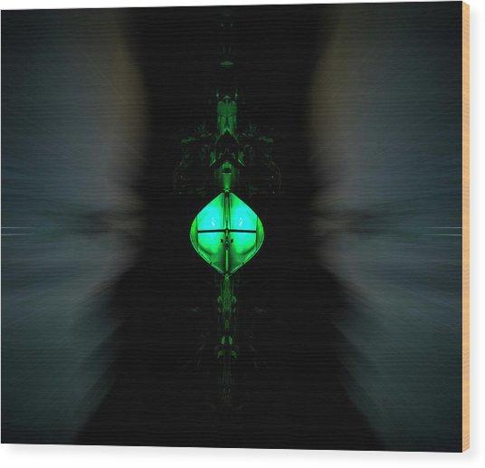 Green Alien Dude On A Speeder Wood Print