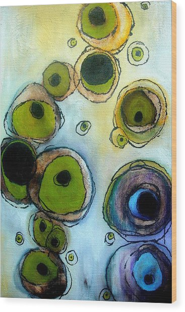 Green And Blue Wood Print by Lizzie  Johnson