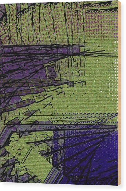 Green And Purple Field Wood Print