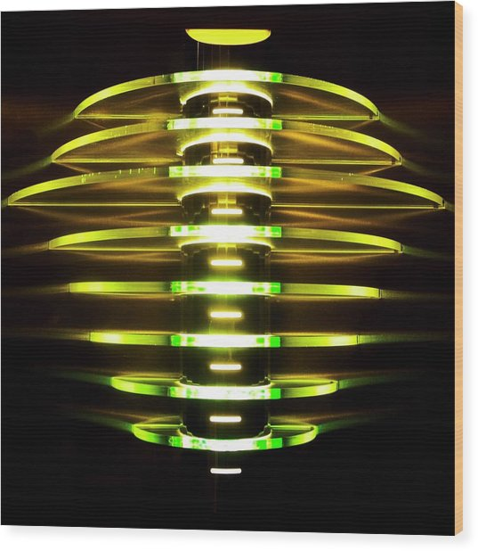Green And Yellow Light Reflectors Wood Print