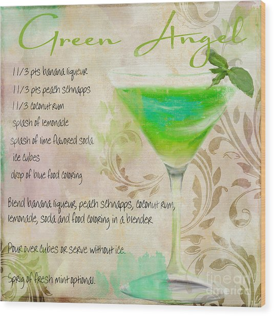 Green Angel Mixed Cocktail Recipe Sign Wood Print