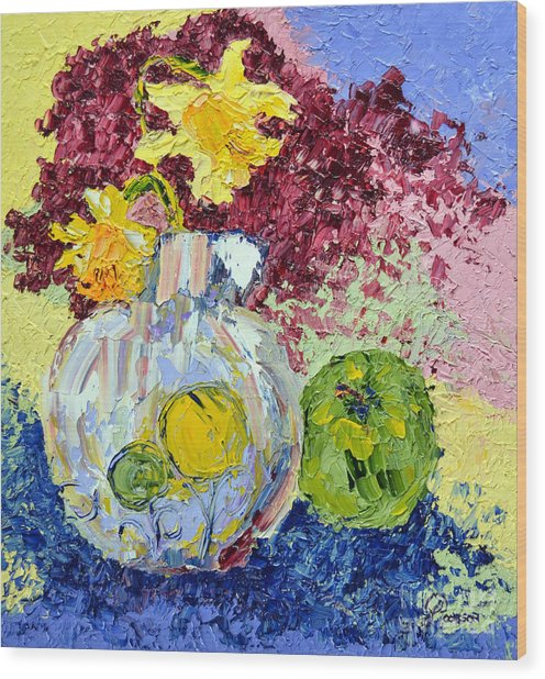Green Apple And Daffodils Wood Print