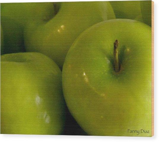 Green Apples 2 Wood Print by Fanny Diaz