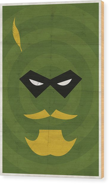 Green Arrow Wood Print
