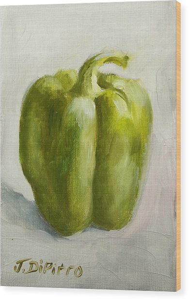 Green Bell Pepper Wood Print by Joni Dipirro