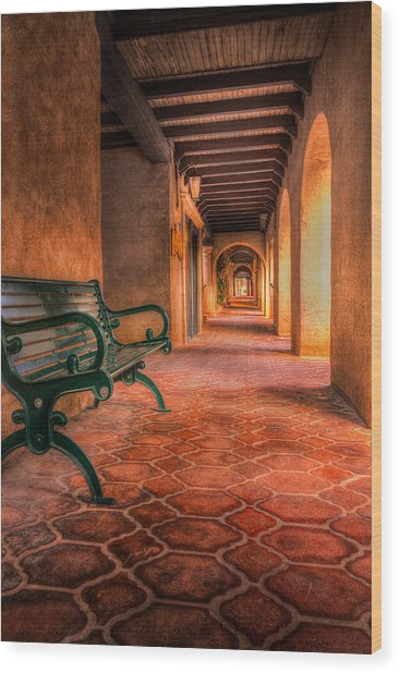 Green Bench And Arches Wood Print