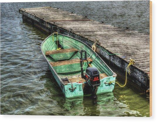 Green Boat Wood Print