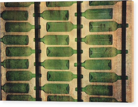 Green Bottles Wood Print