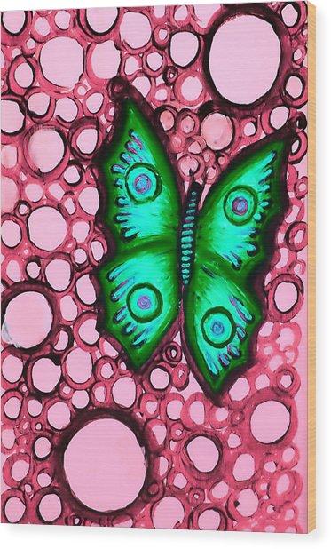 Green Butterfly Wood Print by Brenda Higginson