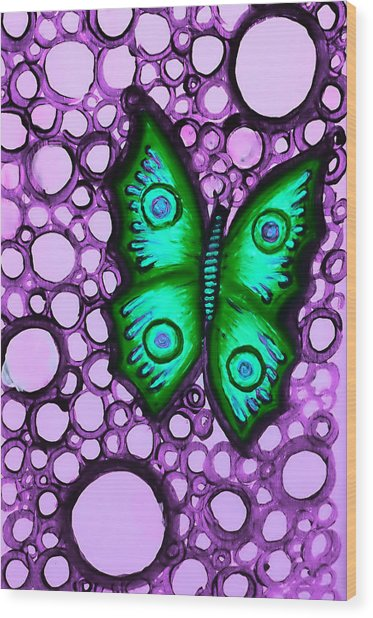 Green Butterfly II Wood Print by Brenda Higginson