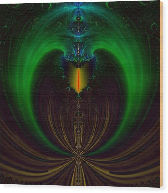 Green Candle Wood Print by Sfinga Sfinga