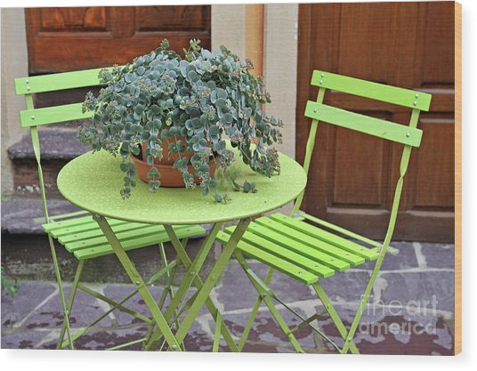 Green Chairs And Table With Plant In Pot Wood Print by Sami Sarkis