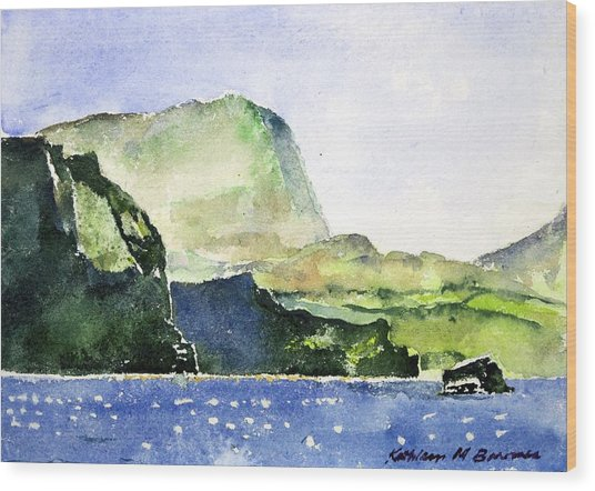 Green Cliffs And Sea Wood Print