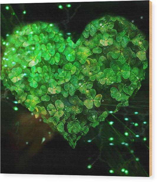 Green Clover Heart Wood Print