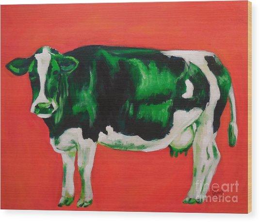 Green Cow Wood Print