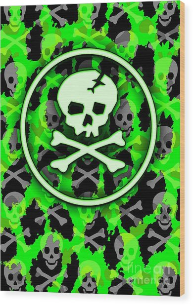 Green Deathrock Skull Wood Print