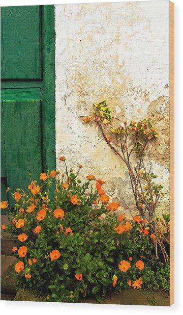 Green Door - Orange Flowers Wood Print by Georgia Nick