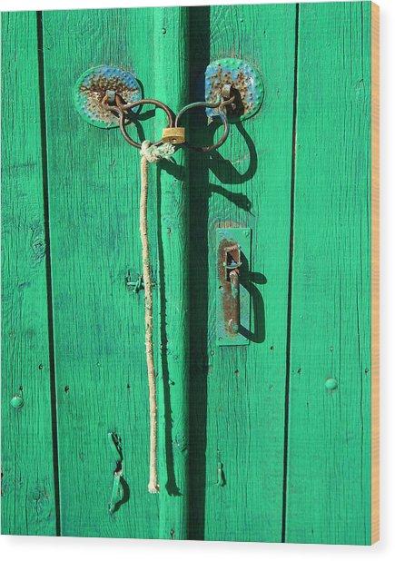 Green Door With Spectacles Wood Print by Donald Buchanan