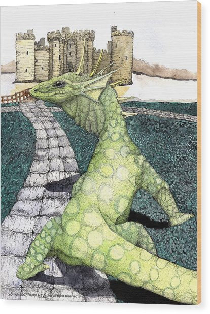 Green Dragon Wood Print by Preston Shupp