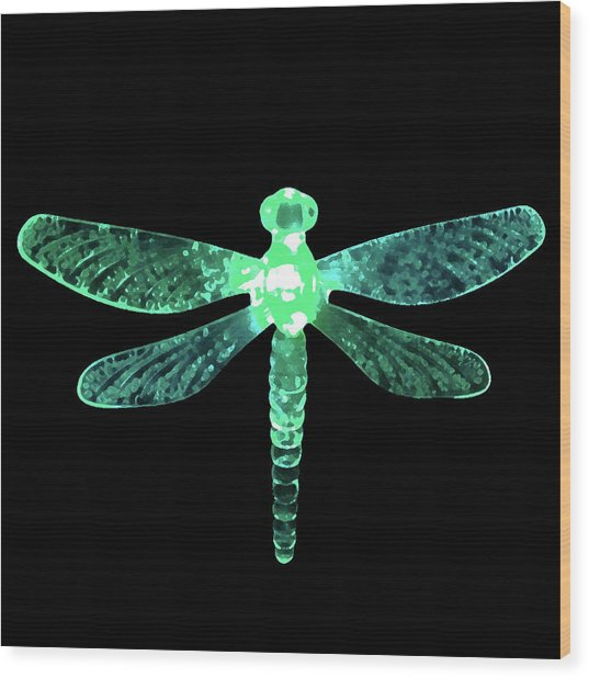 Green Dragonfly Wood Print