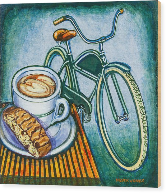 Green Electra Delivery Bicycle Coffee And Biscotti Wood Print