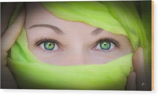 Green-eyed Girl Wood Print