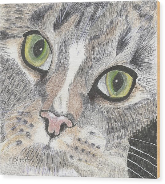 Green Eyes Wood Print