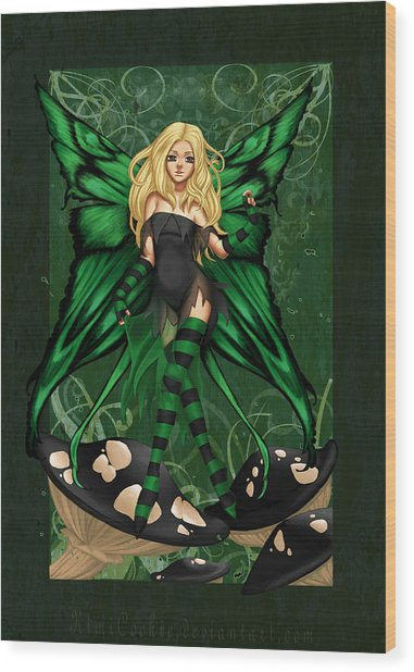 Green Fairy Of Poison Wood Print by KimiCookie Williams