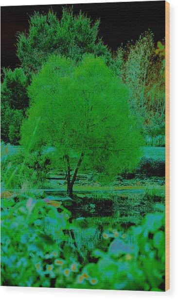 Green Fantasy Wood Print by Etha  Walters
