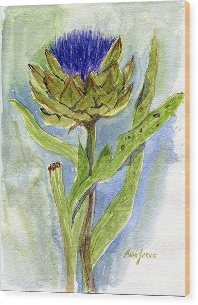 Green Globe Artichoke Bloom Wood Print
