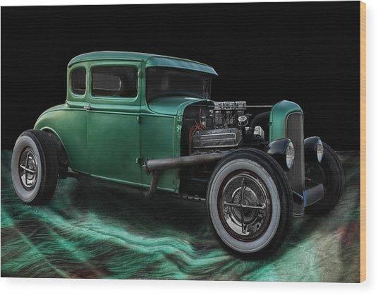 Green Hot Rod Wood Print